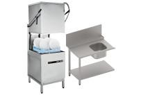 Hauben-Spülpaket Durchschubspülmaschine + Zulauftisch mit Becken